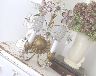 Vintage Tole Sconce * Amethyst & Clear Glass Flowers * Maison Baguès Style * Paris Apt * Shabby Chic * Beaded Bulb Covers