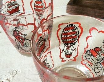 Vintage 70's juice cups juice glasses small cups glass - hot air baloon, biker, train, horse drawn carriage, buggy