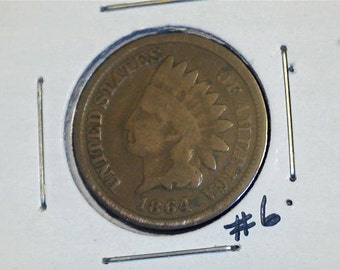 Indian Head Penny 1864 / One Cent Used / Circulated / No. 6