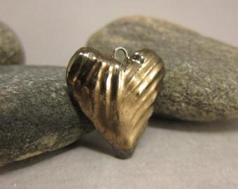 Golden Heart...Ceramic Pendant