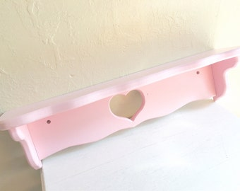 Large Pink Wood Wall Shelf with Heart Cutout Wooden - Ready to Hang