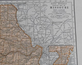 Vintage Missouri map, state map, 1930s Antique color Map of Missouri, wall art map