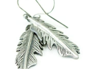 Sterling Feather Earrings - Silver Feather Dangles - Boho Feather Earrings