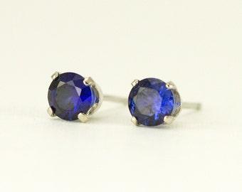 14k White Gold Sapphire Studs -  Birthstone Post Earrings - 14k White Gold Earrings -Choose Your Stone
