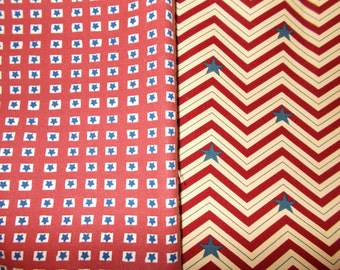 Fabric Lot Stars Stripes Red White Blue Americana Fabric Patriotic Quilting Fabric 4Th of July Fabric Stars 2 Remnants Scraps Lot