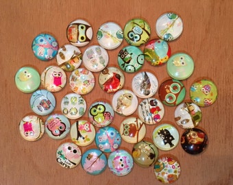 30 Pack 16mm Owls Glass Circle Cabochons 16mm  (OWL-16-30)