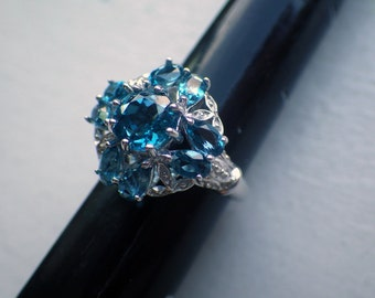 Blue Topaz Ring - Sterling Silver - Multistone - Size 7