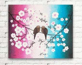 Rose Azure Love Birds Art Original Acrylic Painting, Cherry Blossom Canvas Art, Romantic Art Wall Decor, Home Decor 20x24