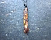 Unique Natural Wood Ogham Pendant - Heather/Ur - for Good Luck.