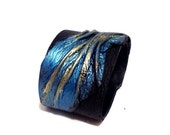50% OFF SALE Large High Fashion  Metallic Leather Turquoise and Gold Leather Handmade Statement Bangle Bracelet