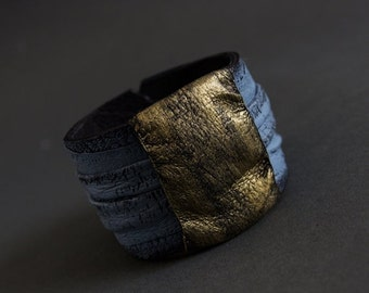 40% OFF Elegant leather gray and gold bracelet cuff Statement jewelry Wide wristband