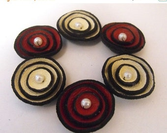 50% OFF SALE Jewelry supplies. Handmade leather flowers for crafts and jewelry making, 6 pcs TINY round findngs