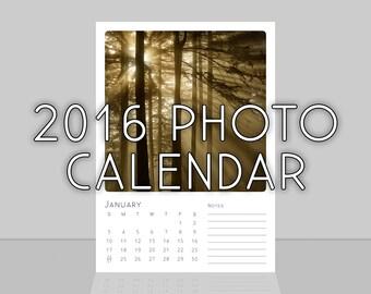 2016 Photo Calendar, Nature Calendar, 2016 Desk Calendar, 5x7 Photography Calendar, 2016 Calendar, 2016 Art Calendar, 2016 Wall Calendar