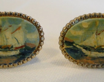 Vintage Handpainted Cuff Links Tall Ships