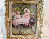 Dollhouse picture, tatty chic, miniature picture, gold trimmed picture, Victorian children, tea party, , a dollhouse miniature