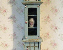 Dollhouse display clock, duck egg blue clock, , tall clock, miniature clock, clock, twelfth scale