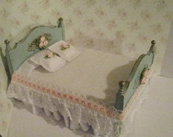 Miniature Bed, Dollhouse double bed, Pretty spread, duck egg blue bed, a dollhouse miniature in twelfth scale