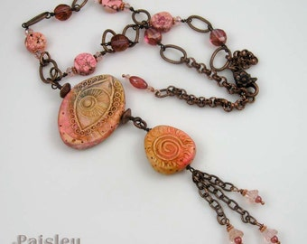 Pink Peach Evil Eye talisman necklace, polymer clay focal on copper beaded chain with tassel, art jewelry