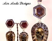 Labradorite Skull Dangle on Ruby Earrings
