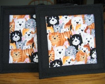 Quilted Pot Holders in Cats - Set of 2