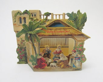 Antique Nativity Greeting Card Pop Up Christmas Card Reproduction