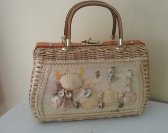 Wicker Novelty Box Purse Plastic Encased Shells Lucite Handles