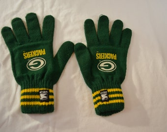 last chance Vintage GREEN BAY PACKERS knit winter gloves Wells Lamont 1980's