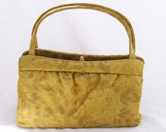 Vickie - 1960s gold brocade handbag