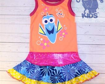 Just keep swimming - a dress made out of authentic FINDING DORY  tshirt super cool funky recycled upcycled  pieced  size 4/5