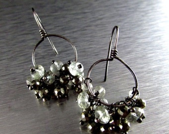 20 % Off Green Amethyst and Pyrite Oxidized Sterling Hoop Earrings
