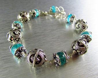 Chunky Apatite And Artisan Sterling Silver Bali Bead Bracelet