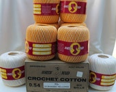 Vintage Crochet Thread, South Maid Mercerized Crochet Cotton by Coats and Clark, Brand New, Never Used, Shaded Yellow, White, Blue, Cream