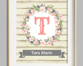 Baby Girl Nursery Wall Art, Custom Name Print, New Baby Gift, Coral Gray Nursery Decor, Wall Art Girl, Personalized Baby, Floral Letter Art