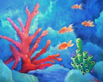 """Coral Reef Painting, Tropical Painting,  Fish Painting, Textured Art, 20x24x1.5"""" Original Oil Painting"""