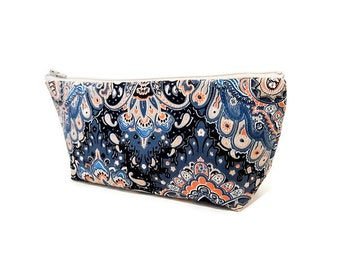 Boho Pouch, Cosmetic Bag, Pencil Pouch, Zipper Pouch, Fabric Pouch, Gift for Her, Gift Under 20, Toiletry Bag, Teal and Taupe Boho Patterns
