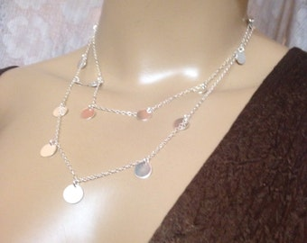 """Silver long necklace Coin necklace disc charm necklace round discs necklace-""""Coin"""" double necklace"""