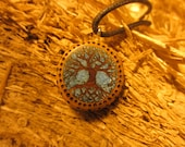 RESERVED FOR GINA Yew Wood Tree of Life Necklace Inlaid with Turquoise-- Wooden Jewelry,