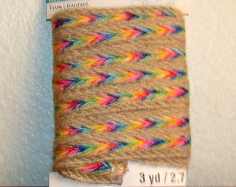 New In Package Rainbow And Jute Boho trim - 3/4 X 3 Yards