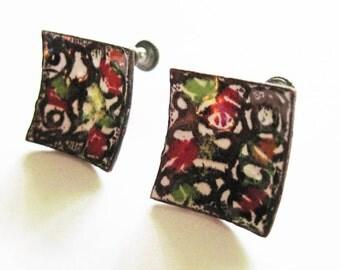 Vintage Enamel Copper Earrings