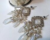 CUPID SALE xOx Wedding Earrings Handmade Bridal Chandelier Wire Wrap Moonstone Pearl Cluster Statement Bridal Jewelry Handmade