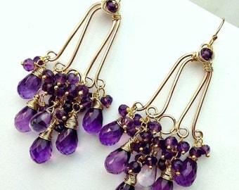 SUMMER SALE Amethyst Chandelier Earrings 14kt Gold Fill Wire Wrap Purple Gemstone Luxury Handmade Statement Chandelier February Birthstone