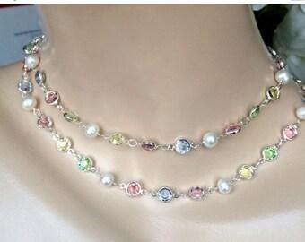 SUPER SALE 60% OFF Long Pearl Crystal Sautoir, Wire Wrap Sterling Silver Sautoir, Pearl Pastel Swarovski Crystal, Long Pearl Pink Blue Green