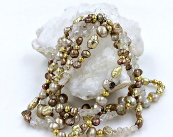 50% OFF SALE Long Crystal Wrap Bracelet Necklace Layering Necklace Boho Chic Wrist Wrap Silk Knotted Pearl Necklace Boho Chic Romantic Neckl