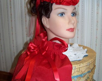 Civil War Hat and Reticule,Victorian Ladies Hat, Red  teardrop satin with Red ruffle and Satin Ribbon Rose Civil War reenacting Ballgown