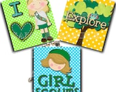 INSTANT DOWNLOAD - Girl Scouts -  Scrabble .75 x .83 Collage Sheet - Digital Collage Sheet