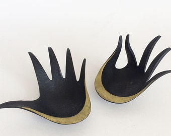 Pair of Vintage WALTER BOSSE/BALLER Hand Trays Ash Tray Black Painted Brass 50's Decor,Austria