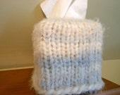Tissue Box Knitted Cover, Kleenex, BoHo, Home Decor, Light Gray, Cream, Fuzzy Yarn, Tissue Box Cover