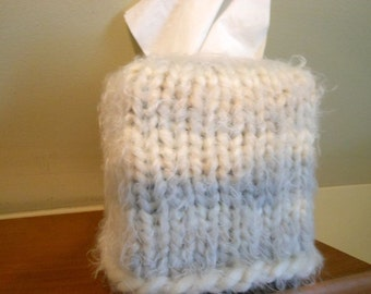 Tissue Box Cover, Hand Knitted Cover, Kleenex, BoHo, Home Decor, Light Gray, Cream, Fuzzy Yarn, Tissue Box Cover, Facial Tissue