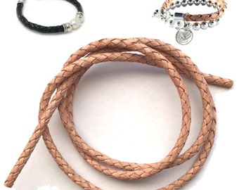 1m x Braided Bolo Hollow Core Round Leather Cord in Natural or Black 5mm dia