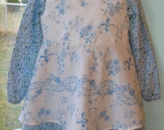 Size 6 Spring White/Blue Dress